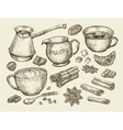 Food tea coffee Hand drawn cup cinnamon anise vector image