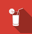 glass of juice icon isolated with long shadow vector image vector image