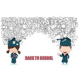 graduated boy and girl pupils back of school vector image