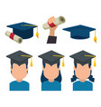 group of graduates with uniform vector image
