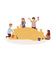 happy children playing in sandbox flat vector image