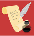 ink with pen flat icon vector image vector image