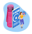 isometric young female drinking a bottle water vector image vector image