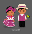 jamaicans in national dress with a flag vector image vector image