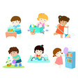 kids do housework set vector image