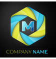 M Letter colorful logo in the hexagonal on black vector image vector image