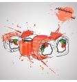 maki sushi japan food color splash vector image vector image