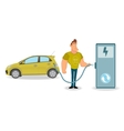Man charging his electric car at the station on vector image vector image