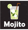 mojito glass of cocktail black background i vector image