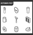 oktoberfest outline isometric icons vector image