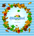 Oktoberfest round frame of maple leaves vector image