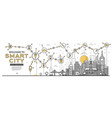 outline smart city skyline panorama networks vector image