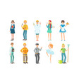 people different professions set teacher vector image vector image