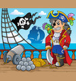 pirate ship deck theme 3 vector image vector image