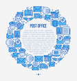 post office concept in circle with thin line icons vector image vector image