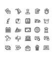postal signs black thin line icon set vector image