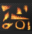 realistic fire flame elements burning effects of vector image