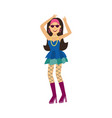 retro disco woman character dancing isolated on vector image