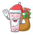 santa with gift raspberry bubble tea character vector image vector image