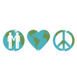set of peace on earth symbols vector image vector image