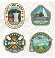 set summer camp patches concept for vector image vector image