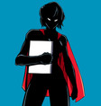 superheroine holding book silhouette vector image vector image