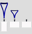 Three white lanyard with blue holder vector image vector image