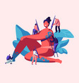 tiny characters with paint brushes drawing on body vector image