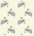 tiny floral branch and crescent moon in vector image