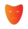 Tragedy theatrical masks Orange applique isolated vector image vector image