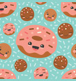 turquoise happy donuts seamless pattern vector image vector image