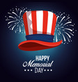 usa hat flag with fireworks celebration vector image vector image