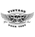 vintage skull with wings vector image