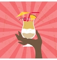 with glass pina colada and hand vector image