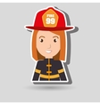 woman fire helmet mask vector image vector image