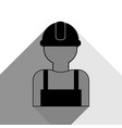 worker sign black icon with two flat gray vector image vector image