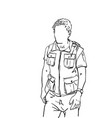 young man with no face wearing expedition vest vector image