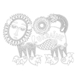 unusual fantastic creature in decorative Ukrainian vector image