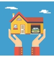 Retro Human Hands with House Real Estate Modern vector image