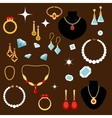 Jewelleries and gemstones flat icons vector image