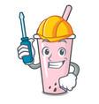 automotive raspberry bubble tea character cartoon vector image vector image