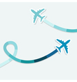 background with two jets and colored trace of them vector image vector image