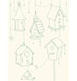 bird house doodle card vector image vector image