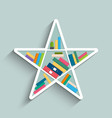 bookshelf in form of star with colorful books vector image