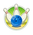 Bowling ball and skittles for vector image vector image