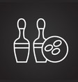 bowling thin line on black background vector image