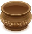Brown empty clay ceramic pot vector image vector image