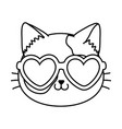 cat with heart sunglasses black and white vector image vector image