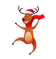 cheerful reindeer character in santa hat vector image vector image