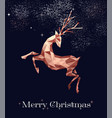 christmas copper low poly deer greeting card vector image vector image